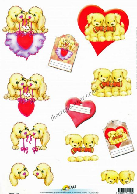 Puppy With Love Hearts 3d Decoupage Craft Sheet